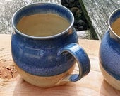 3 Mugs Set.  Wattlefield Pottery mug set trio, handmade by Andrea Young.  Stoneware, blue and beige.