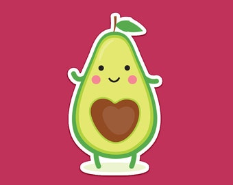 Avocado Sticker, Vegan Sticker, Food Sticker, Cute Sticker, Vegetable Sticker, Funny Sticker, Laptop Sticker, Vinyl Sticker, Phone Sticker