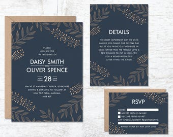 Save The Date Template Wedding Invitation Template Navy Blue Etsy