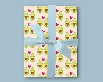 Avocado Wrapping Paper Gift Wrap Vegan Lover Cute Birthday