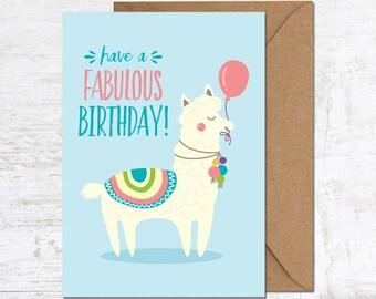 Llama Birthday Card Etsy