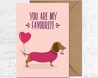 Dachshund Birthday Card, Dachshund Anniversary Card, Sausage Dog Card, Birthday Card Boyfriend, Birthday Card girlfriend, Dachshund Cute