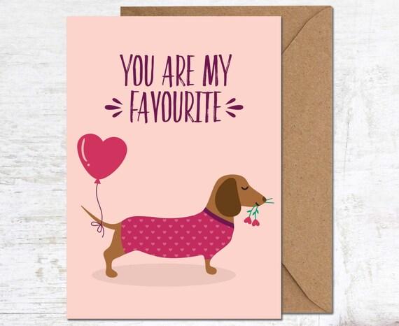 Dachshund Birthday Card Dachshund Valentines Card Sausage Etsy