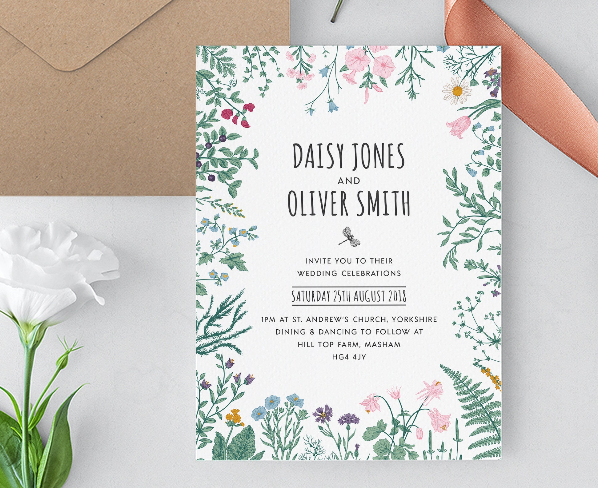 Garden Wedding Invitations: Garden Wedding Invitation Template Woodland Wedding Invite