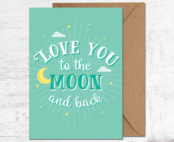 Love You To The Moon Card Valentines Boyfriend