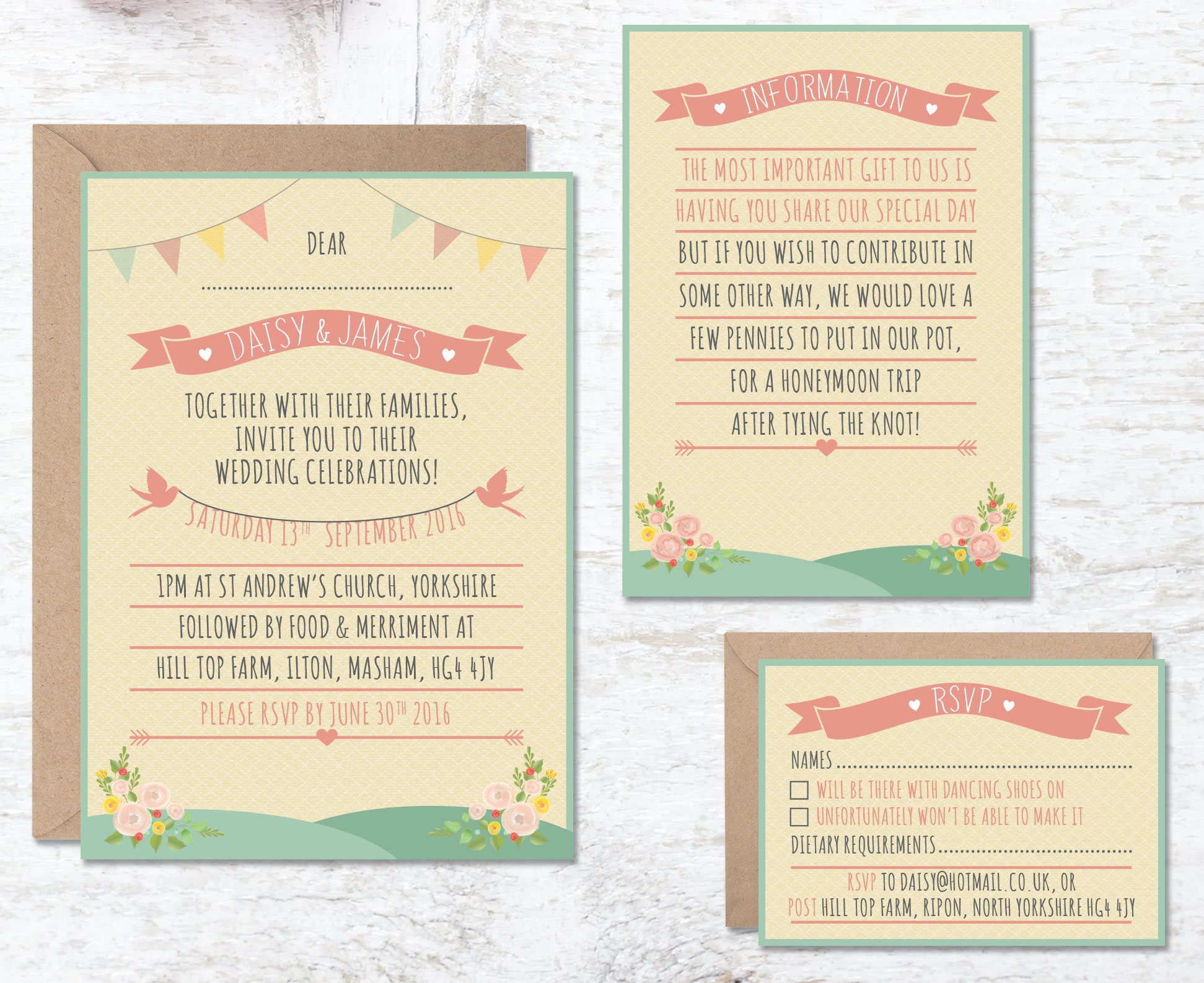 Rustic Wedding Invitation Template Printable Festival Bunting Tipi Boho Barn