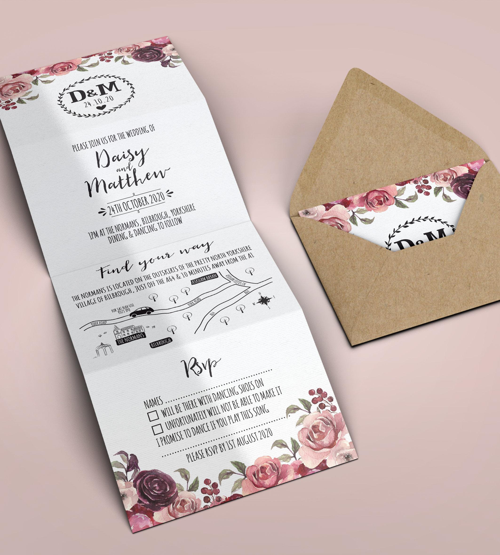 Concertina Wedding Invitation Folded Wedding Invitation | Etsy