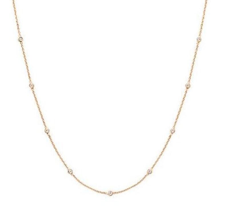 4e8c98395bf9d 14k Gold 9 Stations Diamond By The Yard Necklace/ Bezel Necklace/ Dainty  Necklace/Station Necklace