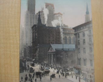 Broadway with Skyscrapers, New York City Hand-Colored Postcard, 1908
