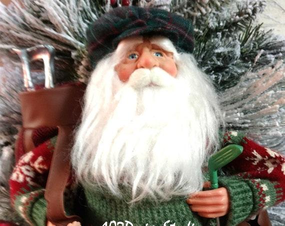 Santa Golfer Swag, Santa Swag, Winter Swag, Golfer Gift, Golf Lover Gift, Gift for Golfer, Santa Golfer Wreath, Santa Wreath