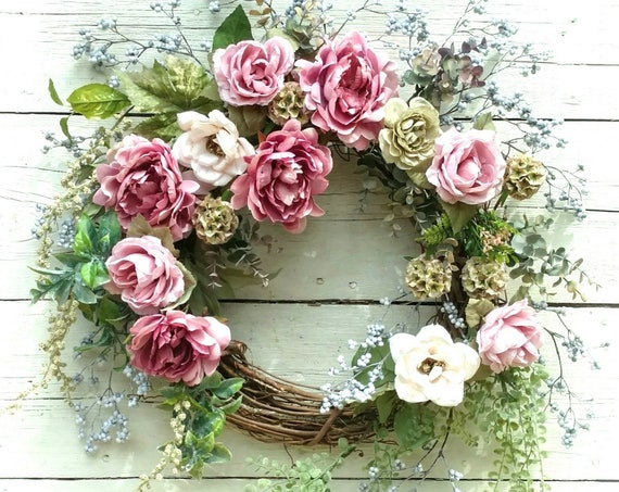 Fall Floral Wreath, Etsy Fall Floral Wreath, Fall Floral Swag, Etsy Fall Floral Swag, Mauve Floral Wreath, Front Door Fall Wreath