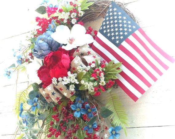Patriotic Wreath, American Flag Wreath, Military Wreath, Patriotic Swag, Red, White, Blue Swag, Military Swag, Front Door Patriotic