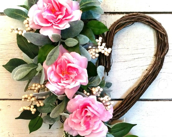 Heart Swag,Spring Pink Wreath,Spring Pink Swag, Summer Pink Wreath,Summer Pink Swag,Front Door Spring,Front Door Summer
