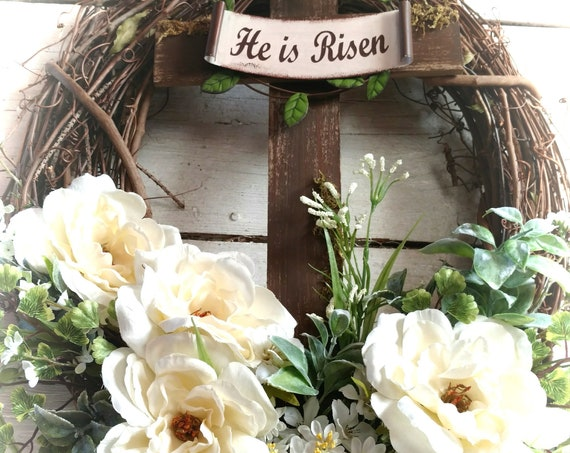 He is Risen Wreath, He is Risen Swag, Easter Wreath, Easter Swag, All Season Wreath, Cross Wreath, Cross Swag, Wall Cross