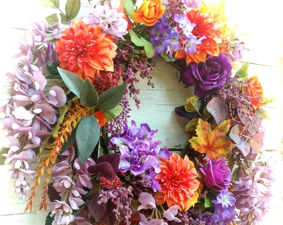 Fall Wreath, Autumn Wreath, Fall Swag, Autumn Swag, Etsy Fall Wreath, Etsy Autumn Wreath, Etsy Fall Swag, Front Door Fall Decor,