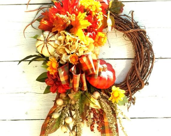 Fall Pumpkin Wreath,Front Door Fall Wreath,Etsy Fall Wreath,Etsy Pumpkin Wreath,Fall Pumpkin Swag,Etsy Fall Swag,Hydrangea Fall Wreath
