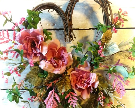 Mother' Day Wreath, Valentine Swag,Etsy Heart Wreath,Etsy Heart Swag, Valentine Front Door Wreath,Elegant Pink Floral Heart Wreath/Swag