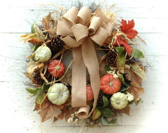 Pumpkin Fall Wreath, Fall Wreath, Etsy Fall Wreath, Autumn Wreath, Thanksgiving Wreath, Thanksgiving Swag, Front Door Fall, Thanksgiving