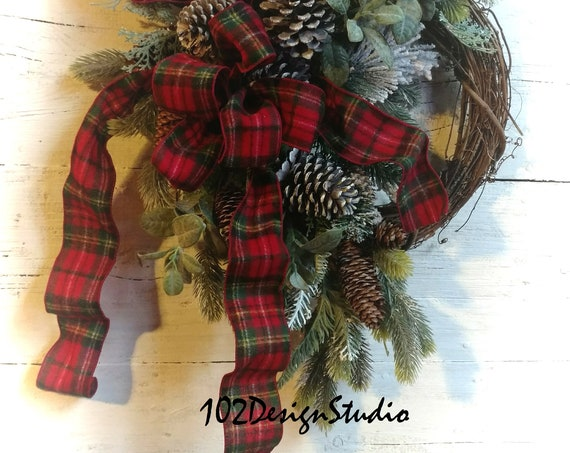 Pine Cone Wreath with Winter Greens and Plaid Ribbon,Classic Winter Wreath,Winter Wreath,Winter Swag,Etsy Winter Wreath,Lodge Winter Wreath