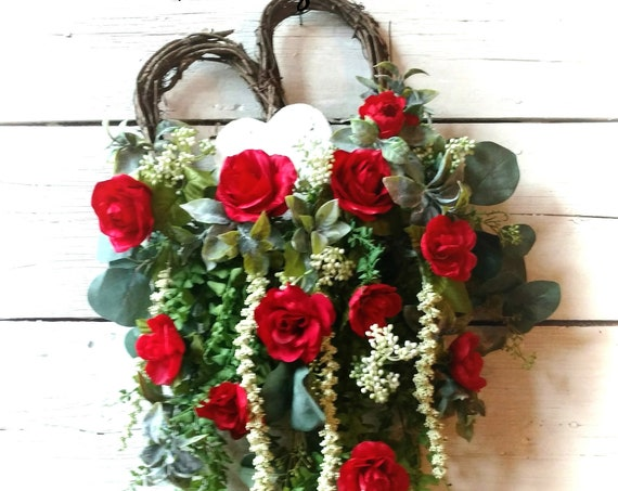 Mother's Day Wreath, Valentine Swag, Red Rose Valentine Wreath, Red Rose Valentine Swag, Heart Wreath, Heart Swag, Front Door Valentine