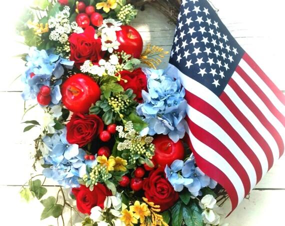 Patriotic Wreath, Patriotic Swag, Military Wreath, Military Swag, Veteran Wreath, July 4th Wreath, Independence Wreath, American Flag