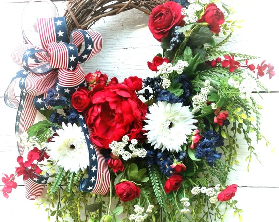 Patriotic Wreath, Military Wreath, Fourth of July Wreath, Memorial Day Wreath, Red, White and Blue Door Hanger,Patriotic Door,Patriotic