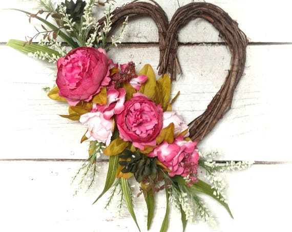 Romantic Wreath,Valentine Front Door,Heart Wreath,Gift  Her,Mother's Day Wreath,All Occasion Wreath