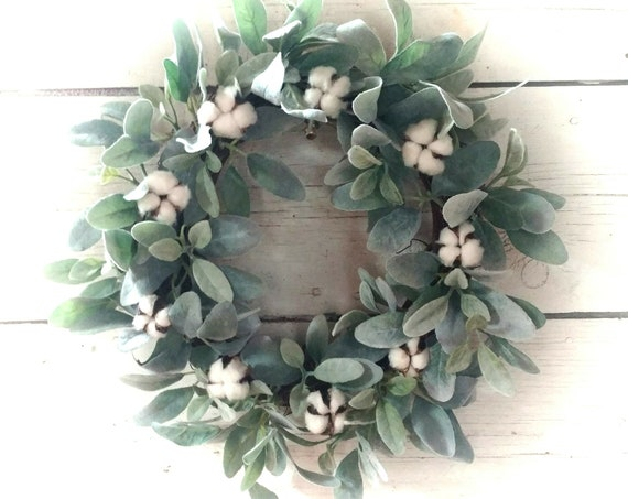 Cotton Boll Wreath, Lamb's Ear Wreath, Farmhouse Wreath, Marketplace  Decor, All Season Wreath, Spring Wreath, Summer Wreath, Etsy Farmhouse
