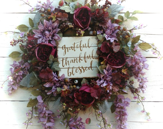 LARGE PURPLE WREATH,  Grateful Wreath, Thankful Wreath, Blessed Wreath, Fall Wreath, Purple Door Hanger, Purple Floral Swag, Fall Font Door