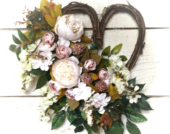 Heart Wreath, Farmhouse Wreath, Valentine Farmhouse Wreath Farmhouse Swag, Heart Swag