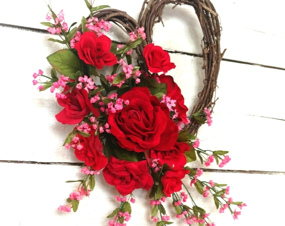 Valentine Wreath,Heart Wreath,Red Rose Wreath,Gift for Her,Mother's Day Wreath,Etsy Valentine Wreath,Front Door Valentine, Heart Decor