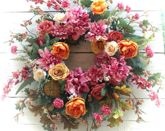 Large Fall Vintage Wreath,Fall Potpourri Wreath,Vintage Fall Floral Swag,Vintage Autumn Front Door,Etsy Fall Vintage Wreath,Etsy Fall Swag