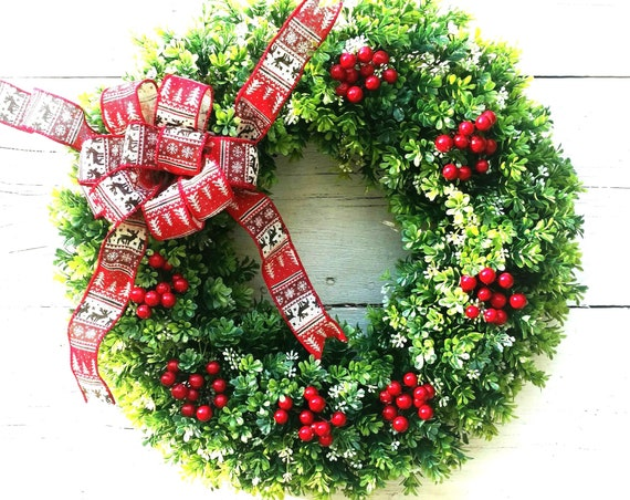 Traditional Winter Wreath,Winter Wreath with Red Berries,Boxwood Winter Wreath,Christmas Wreath,Etsy Winter Wreath,Etsy Christmas Wreath