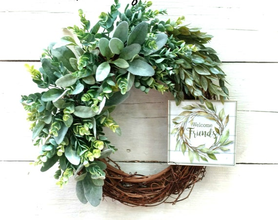 Farmhouse Wreath,  Farmhouse Wall Decor, Welcome Wreath, Welcome Friends, Etsy Farmhouse Wreath, Etsy Farmhouse Decor, All Season Wreath