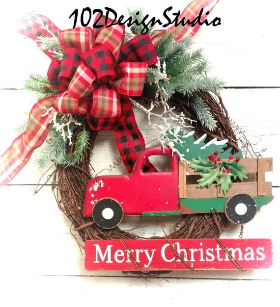 SALE! Vintage Red Truck Wreath, Winter Wreath, Winter Swag, Red Truck Decor, Christmas Red Truck Wreath, Christmas Wreath, Merry Christmas