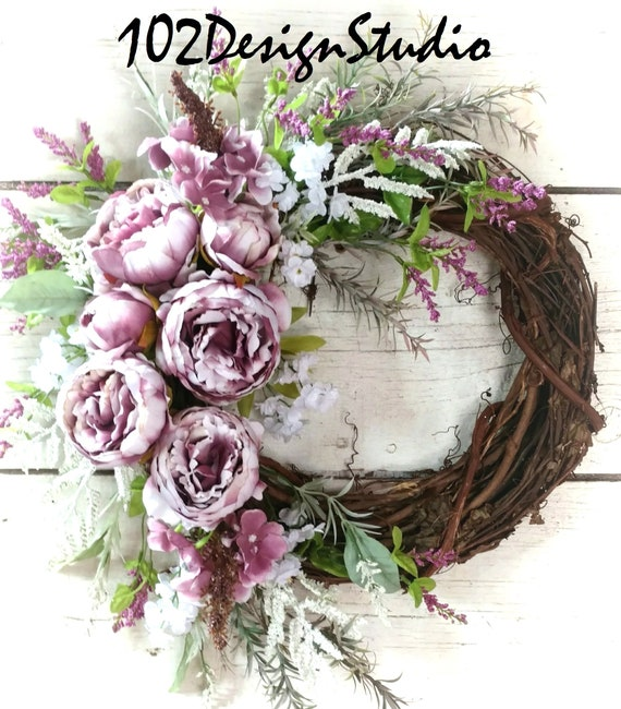 Purple Wreath, Purple Etsy Wreath, Purple Floral Swag,Purple Swag,Vintage Wreath,Victorian Wreath,Vintage Purple Wreath/Swag