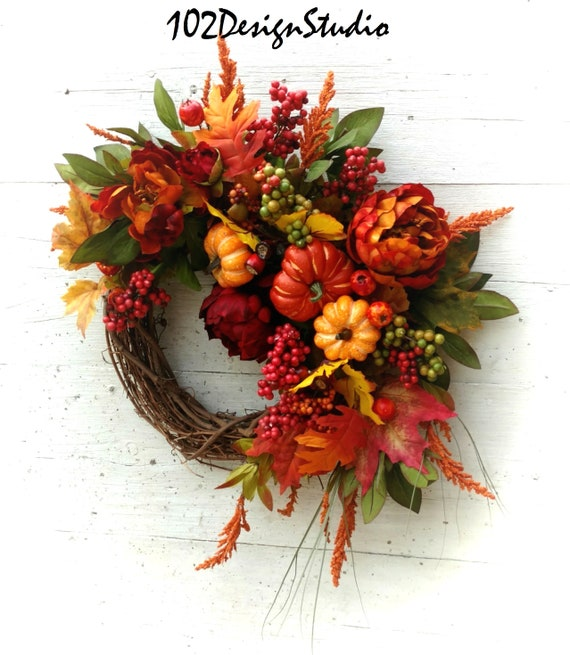 Fall Wreath, Autumn Wreath, Etsy Fall Wreath, Etsy Autumn Wreath, Thanksgiving Wreath, Fall Swag, Thanksgiving Swag, Vivid Fall Wreath