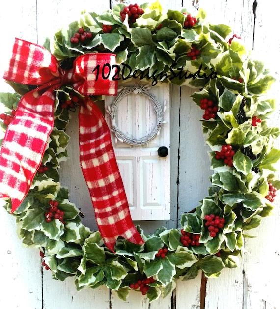 SALE! Holly Wreath,Door Wreath,Winter Wreath,Christmas Wreath,Winter Welcome Wreath,Christmas Welcome Wreath,Etsy Christmas Wreath,Holly