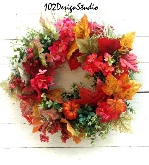 Fall Wreath, Etsy Fall Wreath, Autumn Wreath, Etsy Autumn Wreath, Front Door Fall, Front Door Autumn, Fall Wall Decor, Fall Leaf Wreath