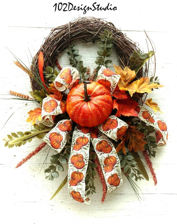 Fall Wreath, Autumn Wreath, Etsy Fall Wreath, Etsy Autumn Wreath, Front Door Fall, Front Door Autumn, Thanksgiving Wreath, Thanksgiving Swag