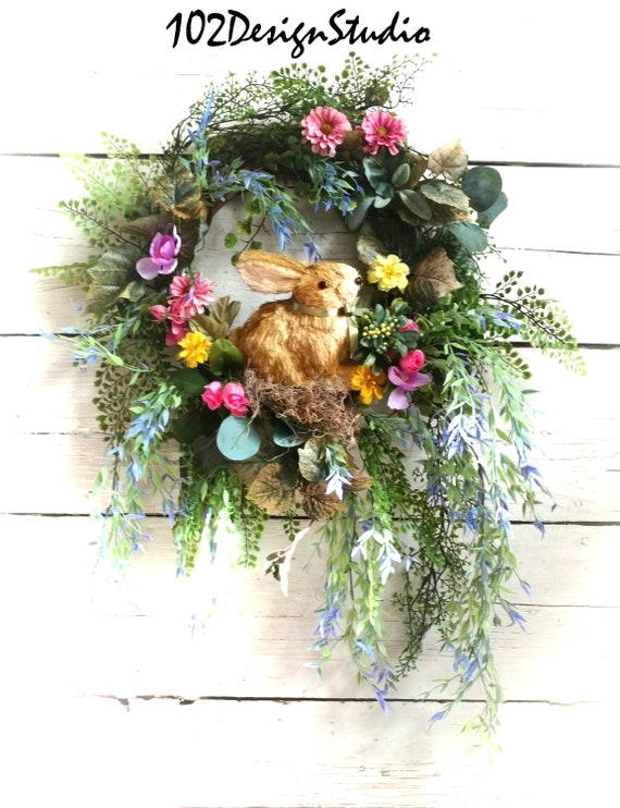 Bunny Wreath, Spring Wreath, Summer Wreath, Front Door Spring, Easter Wreath, Bunny Swag, Spring Swag, Summer Swag, Front Door Easter
