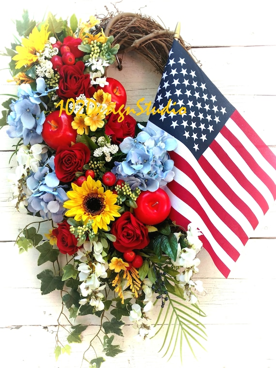 Patriotic Wreath with Sunflowers & Apples,Patriotic Wreath,Military Wreath,Veteran Wreath,Patriotic Swag,Military Swag,Patriotic Door