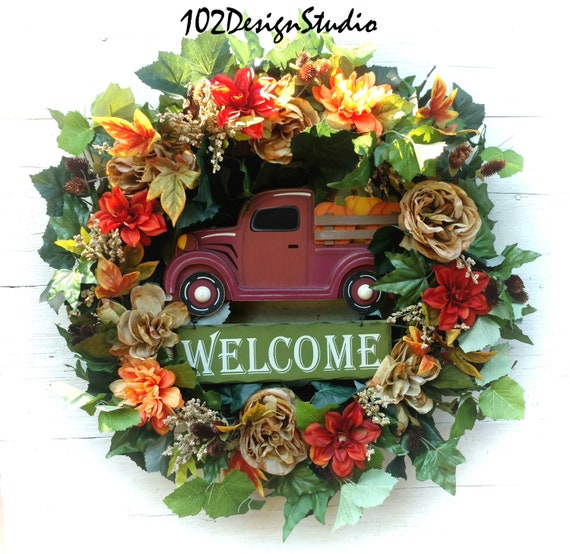 Fall Pickup Truck Wreath, Fall Wreath, Pickup Truck, Truck, Autumn Wreath, Front Door Fall, Fall Etsy Front Door, Fall Wall Decor