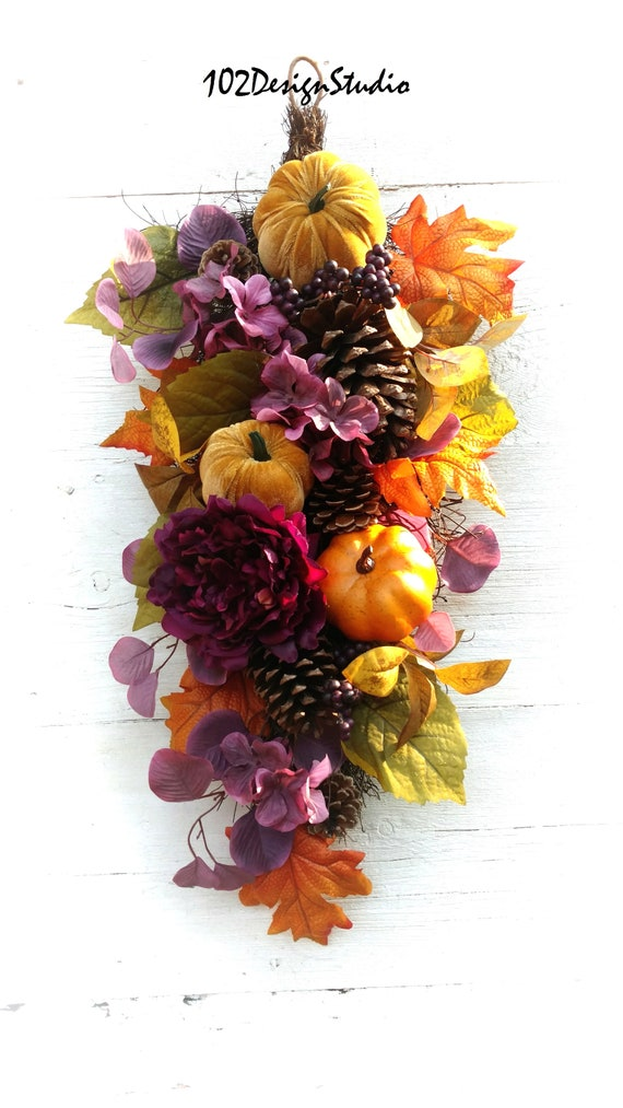 Fall Swag, Fall Wreath, Etsy Fall Swag, Etsy Fall Wreath, Fall Front Door, Autumn Front Door, Pumpkin Swag, Pumpkin Wreath, Purple Fall Swag