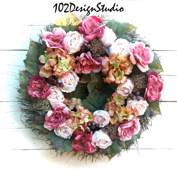 Vintage Fall Wreath, Fall Wreath, Romantic Floral Garden Wreath, Etsy Floral Wreath, Etsy Vintage Decor, Victorian Wreath