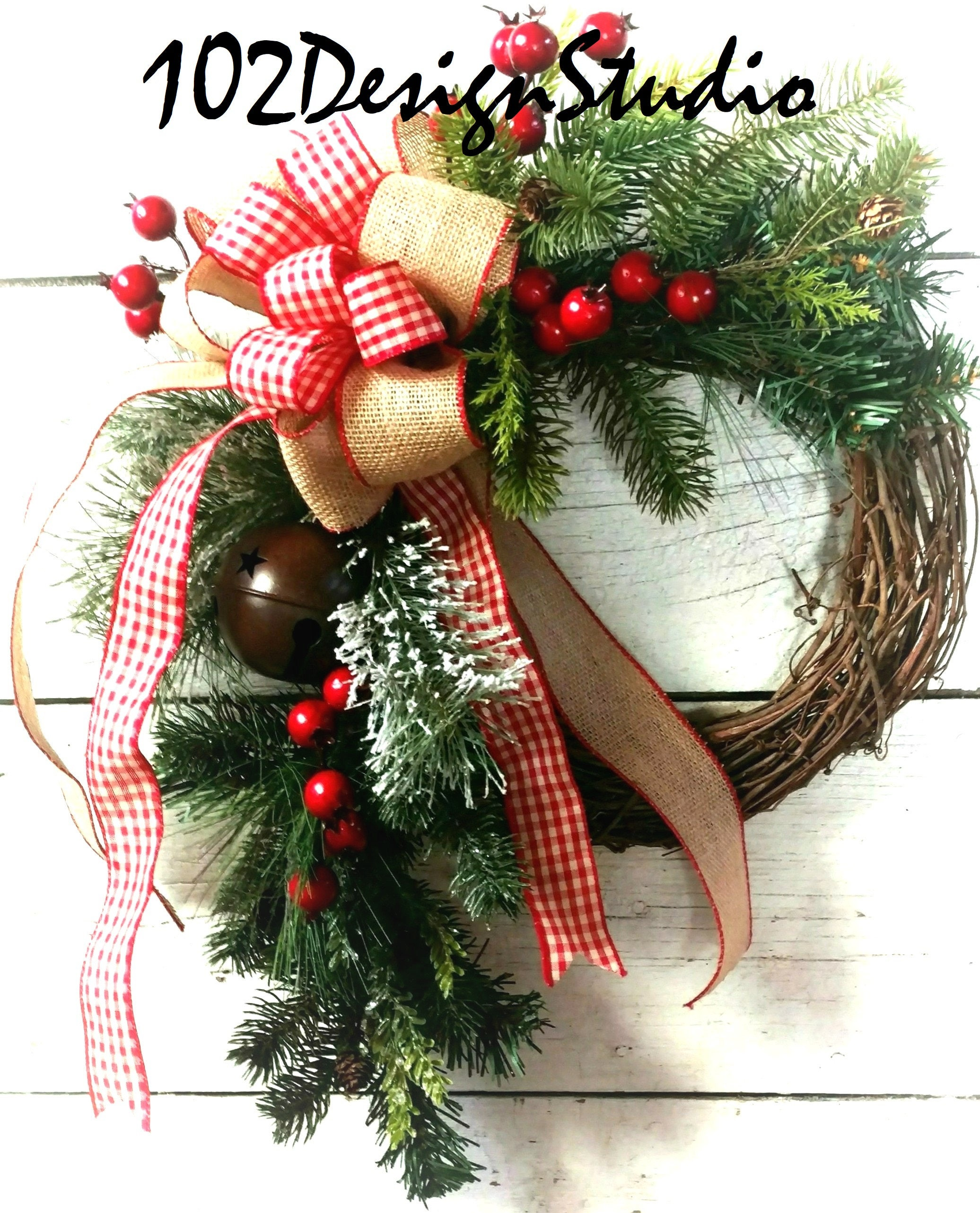 rustic christmas wreath with bell and berrieslodge wreathchristmas swagcountry christmas wreathetsy christmas wreathrustic christmas