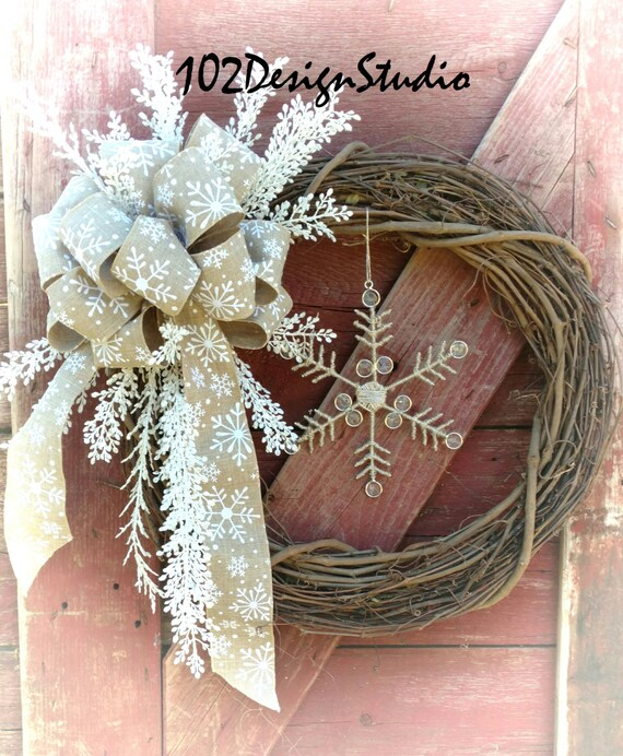 SALE! Winter Wreath, Christmas Wreath, Elegant Winter Wreath, Winter Star Wreath, Winter Star Swag, Star Chic Wreath, Natural Country Wreath