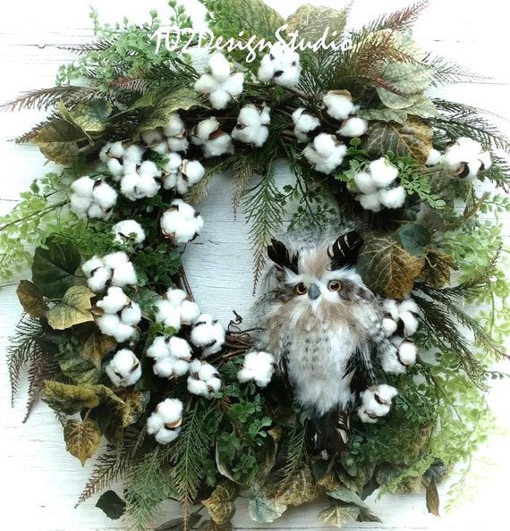 Owl Wreath, Cotton Boll Wreath, All Season Wreath, Nature Wreath, Woodland Owl Wreath, Etsy Owl Wreath, Etsy Owl Wreath, Nature Wreath