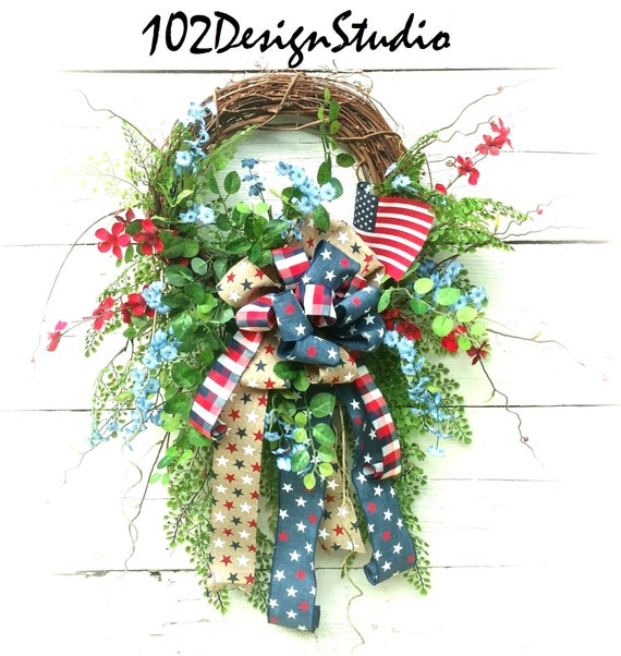 SALE! Woodland Military Wreath Woodland Patriotic Swag, Patriotic Wreath, Patriotic Swag,Etsy Military Wreath, Rustic Patrioric