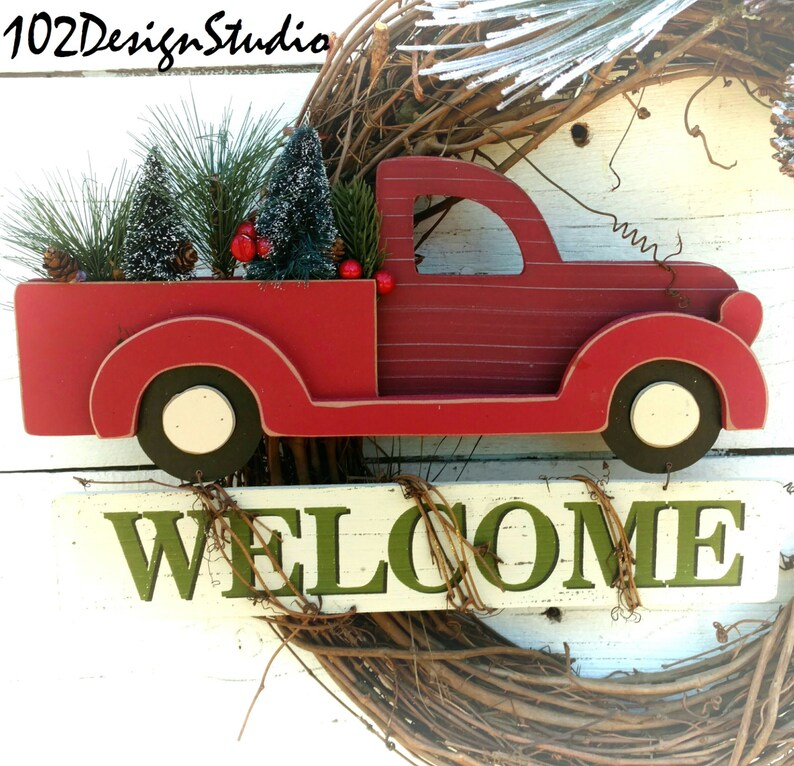 Christmas Wreath,Winter Wreath,Red Truck With Trees Wreath,Welcome Winter Wreath,Winter Swag,Vintage Red Truck Wreath,Red Truck Door Decor